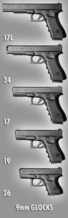 Different types of 9mm Glocks.