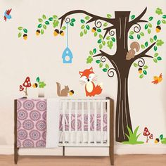 Forest Animals Wall Decal, Vinyl Home Decor, Nursery Decal, Tree Decal, Animals Wall Sticker, Tree Decal