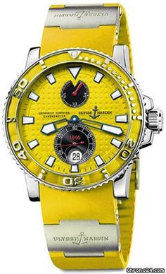 Ulysse Nardin Maxi Marine Diver Yellow Dial Yellow Rubber Mens