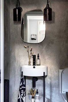 This is a great example of a sophisticated small bathroom with a modern mono design. Space saving bathroom products like our Harbour Status framed cloakroom basin are super flattering, especially when paired with matt black basin taps. Toilet For Small Bathroom, Small Bathroom Furniture, Small Toilet Design, Modern Small Bathrooms, Small Bathroom Vanities, Downstairs Toilet, Bathroom Ideas, Small Vanity, Cloakroom Basin