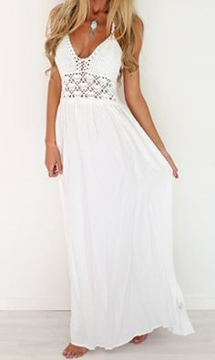 Fashion Halter Hollow Out Spliced Maxi Dress For Women #White #Women #Dress #Elegant #Wedding #Lace