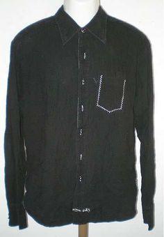 $24.99 ENGLISH LAUNDRY HAND SEWN ARROGANT SHIRT BLACK W/ WHITE STITCHING SIZE XL #EnglishLaundry #ButtonFront