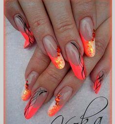 Beautiful neon colors nail design