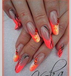 Beautiful neon colors nail design