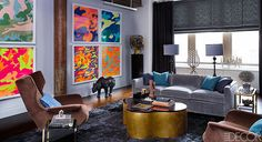 A New York Living room with a colorful twist on camo.
