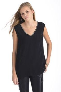 Daniel Rainn Beaded V-Neck Tank Top in BLACK