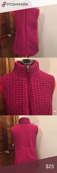 Susan Graver purple/pink vintage vest NWT. Susan Graver purple/pink vintage vest, NWT, very small stain on front by right pocket hardly noticeable, very nice condition. Susan Graver Jackets & Coats Vests