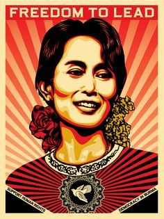 In honor of Nobel Prize award winner Aung San Suu Kyi. Original art by Shepard Fairey. The proceeds from this print went to benefit the Human Rights Action Center and The U. Campaign for Burma Illustration Photo, Illustrations, Shepard Fairey Art, Shepard Fairy, Street Artists, Human Rights, Women's Rights, Vintage Posters, Vintage Photos