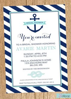 Anchor Nautical Bridal Shower Printable Party By LollipopInk 1350