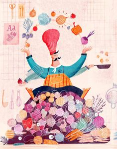 CATHRINE FINNEMA illustration - Jamie Oliver Magazine A three-page spread editorial about cooking with vegetables. Printed in Jamie Oliver Magazine NL May Food Illustrations, Illustration Art, Illustration Children, Cooking Photography, Cuisines Design, Kitchen Art, Animation, E Design, Design Ideas