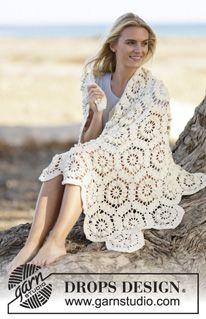 """Gehäkelte DROPS Decke in """"Cotton Merino"""" mit Sechsecken. ~ DROPS Design"""