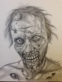 'Unblinking' zombie from the Walking Dead The Walking Dead Poster, Walking Dead Fan Art, Walking Dead Zombies, Vampire Drawings, Zombie Drawings, Creepy Drawings, Walking Dead Drawings, Drawing Dead, Horror Drawing