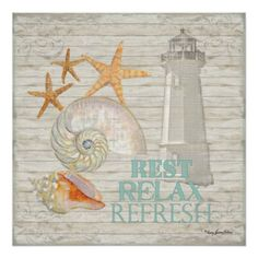 Original Watercolor with Louisbourg Lighthouse, assorted Shells - Conch, Nautilus and starfish.  Perfect for a #Beach #Cottage Decor (or an ocean inspired decor that's anywhere!)