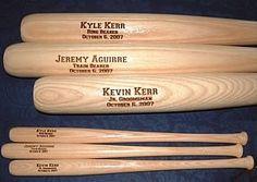 "Personalized Engraved 18"" Mini Wood Baseball Bat Groomsman Ring Bearer Gift Keepsake"