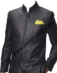 Designer Nehru collar one button Jodhpuri suit made in pure polyester fabric. It has jacket with matching black trimming on front edges of jacket in matching satin. At bottom trouser made in matching satin fabric made in polyester.