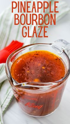 Use this simple pineapple bourbon glaze for all your grilling favorites. Great on shrimp, scallops, chicken, pork (even ham) or tofu. The glaze has pineapple juice, Jim Beam or other bourbon whiskey, brown sugar and crushed red pepper flakes for a sweet, tangy, spicy, sticky glaze that lacquers everything with wonderful flavors. #pineappleglaze #bourbonglaze Bourbon Sauce, Bourbon Glaze, Bourbon Whiskey, Whiskey Glaze Recipe, Whiskey Sauce, Bourbon Drinks, Scotch Whiskey, Irish Whiskey, Dressings
