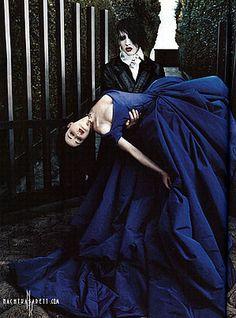 Marilyn Manson with his bride Dita Von Teese dressed in her purple Vivienne Westwood wedding gown (photo 2005)