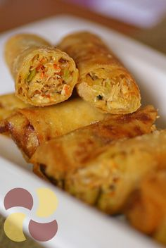 crispy crab and vegetable spring rolls