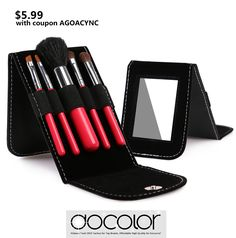 $5.99 -- 5pc mini makeup brush set with Mirror Bracket! Perfect for travel! GET IT NOW: www.amazon.com/...