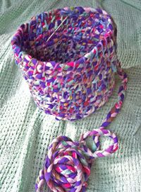 """Making rugs and baskets from braided """"yard"""" made from old t-shirts."""