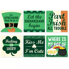 St Patricks Day Hair Bows, St Patricks Day Quotes, Patrick Quotes, St Patricks Day Wallpaper, Big Dot Of Happiness, St Patrick's Day Crafts, St Pats, Party Guests, Drink Coasters