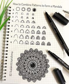 📝Mandala Tutorial- Tutorial: How to Draw Patterns in Mandala Grids . Slide 2 to Step-by-step guide to draw patterns in mandala… Mandala Doodle, Mandala Art Lesson, Mandala Artwork, Mandala Drawing, Mandala Painting, Doodle Art, Mandala Symbols, Art Drawings Sketches, Easy Drawings