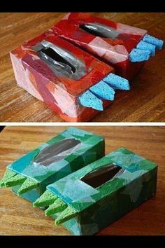 10 Easy Crafts For Kids To Make - Dino shoes made from tissue boxes. evy would love these! i guess i need to buy this size tissue box - Crafts For Kids To Make, Projects For Kids, Kids Crafts, Arts And Crafts, Easy Crafts For Toddlers, Craft Projects, Dinosaur Activities, Craft Activities For Kids, Preschool Crafts