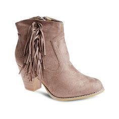 Wild West Fringe Faux Suede Booties ($37) ❤ liked on Polyvore featuring shoes, boots, ankle booties, ankle boots, high heel booties, high heel bootie, faux suede ankle boots, fringe bootie and fringe ankle boots