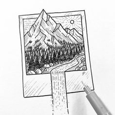 Things to Draw in the Bullet Journal - Polaroid Drawing . - Zeichnen - Things to be drawn in the Bullet Journal – Polaroid drawing … - Drawing Tips, Drawing Sketches, Painting & Drawing, Drawing Skills, Drawing Stuff, Drawing Drawing, Ideas For Drawing, Gouache Painting, Cool Drawing Designs