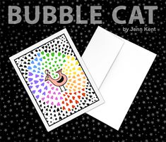 Simply Love Bird surrounded by a Rainbow of Hearts Greeting Card Self Care Self Esteem Happiness Pride by Bubble Cat All illustrations by Jenn Kent Bubble Cat, Cat Logo, Rainbow Heart, Love Birds, Pet Portraits, Note Cards, Hand Stamped, Whimsical, How To Draw Hands