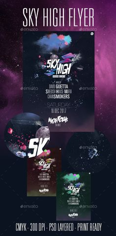 Sky High #Party #Flyer - Clubs & Parties Events Download here: https://graphicriver.net/item/sky-high-party-flyer/19578660?ref=alena994