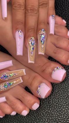Rhinestone Nails, Bling Nails, Swag Nails, Rhinestone Nail Designs, Diamond Nail Designs, Acrylic Nails Coffin Pink, Long Square Acrylic Nails, Purple Toe Nails, Purple Toes