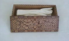 Vintage Glove Box Unhinged//Pyrography Glove Box//Wooden Glove Box by pjspasttreasures on Etsy
