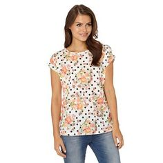 Cream floral and spotted woven front top