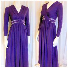 Purple maxi dress long. evening party by BornToShopVintage on Etsy, $49.99