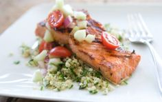 Tabbouleh salad is a beloved whole grain dish. As with traditional versions, this recipe uses fragrant mint and parsley to flavor the salad, which proves a great match for grilled salmon topped with fresh tomatoes and cucumbers.