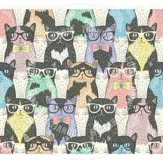Cute Cats kitties glasses nerd #pattern #patterns #print