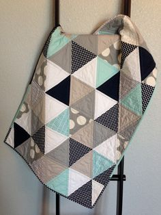 Modern Baby Quilt - grey, aqua, white and navy triangles
