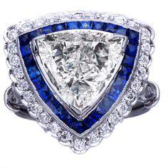Trillion Diamond & Sapphire Edwardian Era Engagement Rings