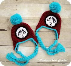 Thing 1 and Thing 2 Crochet Hats!! TOO CUTE.