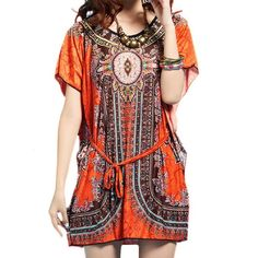 Loose Batwing Sleeve Ethnic Flower Dress:Summer Fashion: Spring Outfits:Casual Outfits:Cute Outfits: Summer Outfits: Spring Outfits:Spring Outfits:Summer Dress