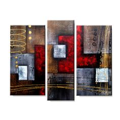 Artist: UnknownTitle: Abstract 407Product type: Hand painted 3-piece gallery wrapped canvas art set