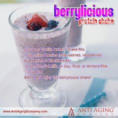 Berrylicious Protein Shake Recipe from USA Flag Co. The Berrylicious Protein Shake Recipe from USA Flag Co. To eat is a necessity, but to eat intelligently is an art. Enjoy this berrylicious shake! Herbalife Shake Recipes, Protein Shake Recipes, Smoothie Recipes, Diy Protein Shake, 310 Shake Recipes, Juicer Recipes, Blender Recipes, Drink Recipes, Protein Smoothies