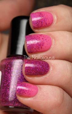 BYS Tickle Me Pink and two coats of Girly Bits Razzle Dazzle