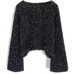 Chicwish Twinkling Fluffy Cropped Sweater in Black (€44) ❤ liked on Polyvore featuring tops, sweaters, shirts, blusas, black, chicwish tops, cropped sweater, crop tops, textured shirt and cropped shirts