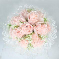 bruids bruiloft boeket bloemen roze roos (typj026)