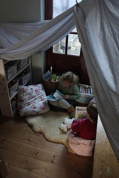 Easy and charming instant reading nook made with a sheet