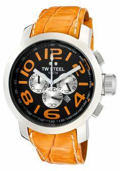 Men's Grandeur Chronograph Black Dial Orange Leather $285