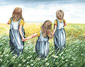 Nicely matted print of 3 little girls, I call it Sisters. This print is made from my original watercolor painting. Would fit in a 16 X 20 frame. Cute Sister, Love My Sister, To My Daughter, Sisters Drawing, Sisters Art, Watercolor Print, Watercolor Paintings, Original Paintings, Three Daughters