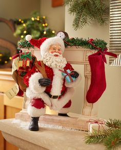 """Possible Dreams Santas """"Making An Entrance"""" - No one makes an entrance like Santa Claus. He make the waiting a whole year worth it though when he arrives Christmas Eve night ready to fill our stockings with goodies. Ready to shop? https://www.department56.com/category/possible+dreams/christmas+traditions.do"""